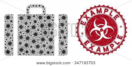 Coronavirus Mosaic Baggage Icon And Rounded Grunge Stamp Seal With Example Text. Mosaic Vector Is Fo