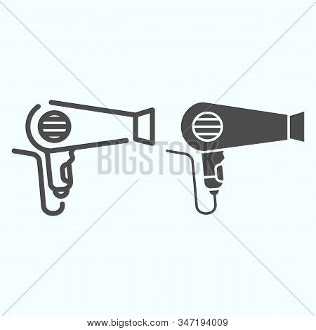 Hair Dryer Line And Solid Icon. An Electrical Device For Drying Hair Vector Illustration Isolated On