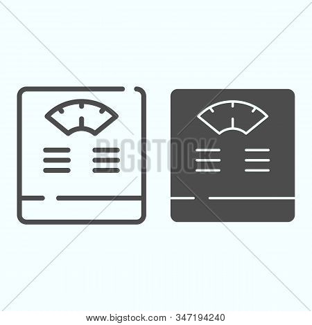 Floor Scales Line And Solid Icon. Bathroom Scales Vector Illustration Isolated On White. Weighing-ma