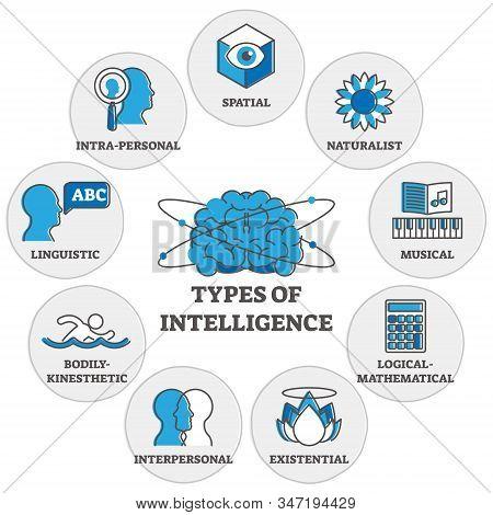 Types Of Intelligence Outline Symbols Diagram, Vector Illustration. Human Personal Psychology And Mi