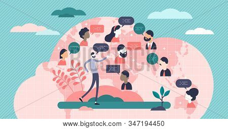 Language Concept,flat Tiny Persons Vector Illustration.world Wide Global Society Population With Dif