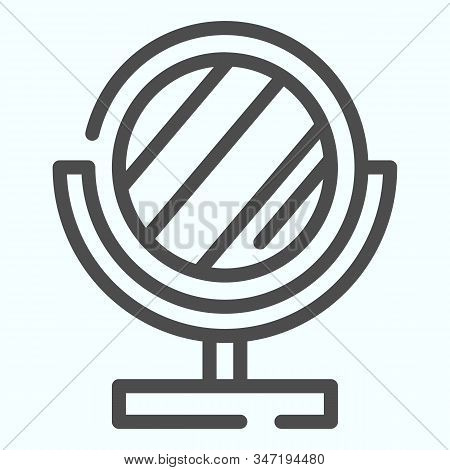 Mirror Line Icon. Small Standing Mirror Vector Illustration Isolated On White. Round Makeup Mirror O