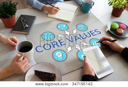 Core Values. Business People Teamwork In Office. Wooden Table Top View.