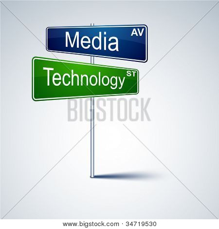 Vector direction road sign with media technology words.