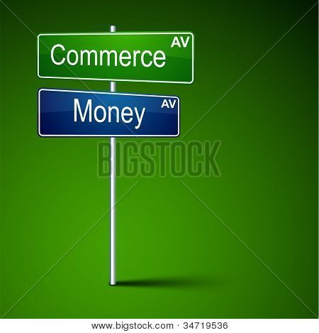 Vector direction road sign with commerce money words.