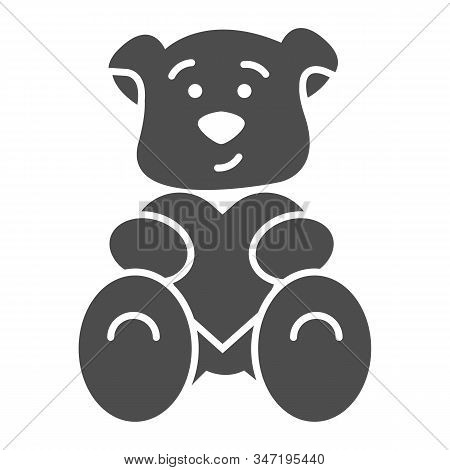 Teddy Bear With Heart Solid Icon. Romantic Teddy Bear Toy Illustration Isolated On White. Cute Black