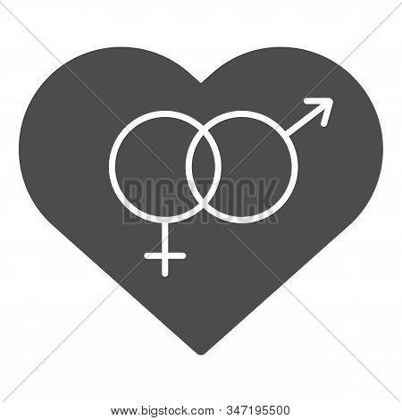 Heterosexual Symbol In Heart Solid Icon. Romantic Hetero Heart Symbol Illustration Isolated On White