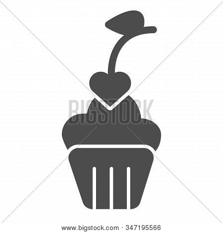 Heart Cupcake Solid Icon. Romantic Valentine Cupcake Illustration Isolated On White. Cupcake Decorat