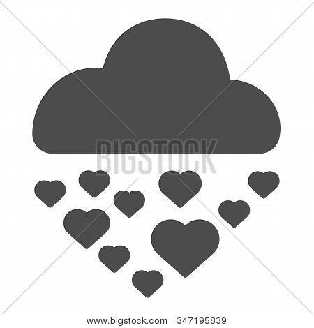 Hearts In Rainy Cloud Solid Icon. Romantic Love Rain Illustration Isolated On White. Cloud Raining H