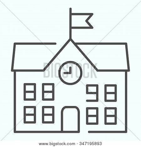 School Thin Line Icon. School Building Vector Illustration Isolated On White. Building With Clock An