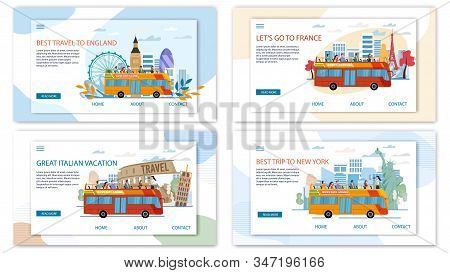 Europe And Usa Travel Offer, Hop-on-hop-off Bus Tours And Excursions Trendy Flat Vector Web Banners,