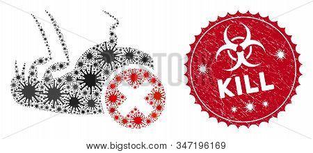 Coronavirus Collage Kill Flea Icon And Round Distressed Stamp Seal With Kill Phrase. Mosaic Vector I