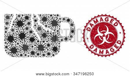 Coronavirus Collage Damaged Cup Icon And Round Rubber Stamp Seal With Damaged Text. Mosaic Vector Is