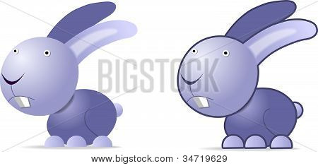 Violet rabbit, illustration on white, two images poster