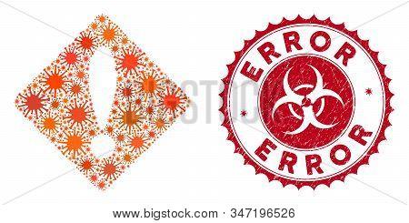 Coronavirus Mosaic Error Icon And Round Grunge Stamp Seal With Error Caption. Mosaic Vector Is Creat