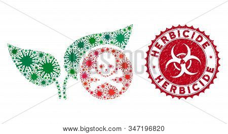 Coronavirus Mosaic Herbicide Icon And Round Distressed Stamp Seal With Herbicide Caption. Mosaic Vec