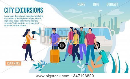 City Bus Excursions, Travel Agency Excursionist Service Trendy Flat Vector Web Banner, Landing Page
