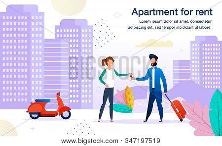 Small Business Opportunity, Contemporary Apartments For Rent Offer Trendy Flat Vector Advertising Ba