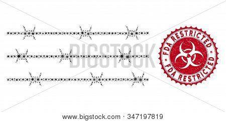 Coronavirus Mosaic Barbwire Fence Icon And Rounded Grunge Stamp Watermark With Fda Restricted Phrase