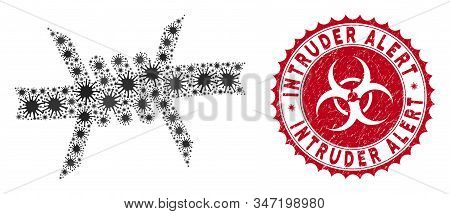 Coronavirus Mosaic Barbed Wire Icon And Round Distressed Stamp Watermark With Intruder Alert Text. M