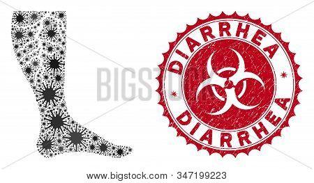 Coronavirus Collage Deep Vein Thrombosis Icon And Round Rubber Stamp Watermark With Diarrhea Phrase.
