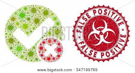 Coronavirus Mosaic False Positive Icon And Round Rubber Stamp Seal With False Positive Caption. Mosa