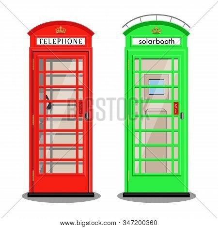 A Classic Red Phone Box And A Green Solarbox In London. Vector Illustration, Flat Style.