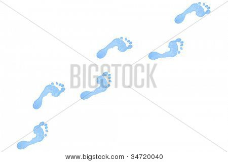 Six blue footprints against a white background