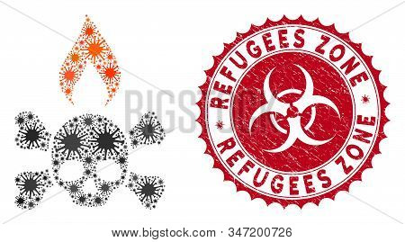 Coronavirus Mosaic Death Ignition Icon And Rounded Grunge Stamp Seal With Refugees Zone Caption. Mos