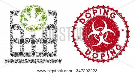 Coronavirus Mosaic Cannabis Building Icon And Round Rubber Stamp Seal With Doping Phrase. Mosaic Vec
