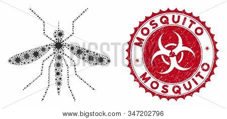 Coronavirus Mosaic Mosquito Icon And Rounded Distressed Stamp Seal With Mosquito Caption. Mosaic Vec