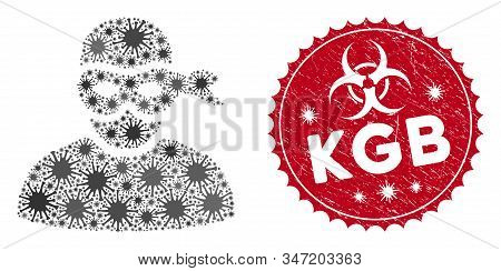 Coronavirus Mosaic Anonimious Thief Icon And Rounded Grunge Stamp Seal With Kgb Text. Mosaic Vector