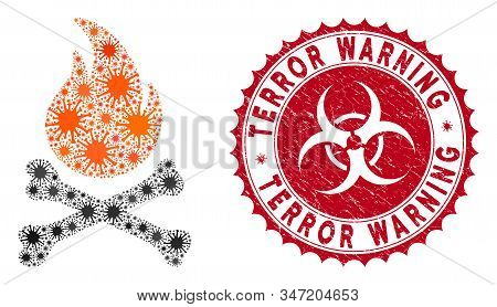 Coronavirus Collage Death Bones Flame Icon And Round Rubber Stamp Seal With Terror Warning Text. Mos