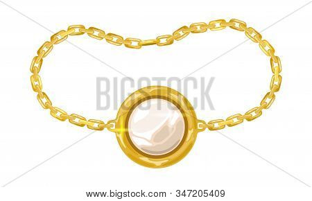 Yellow Golden Chain With White Opal, Pearl Or Diamond In Round Pendant, Charm. Modern Armlet, Bracel