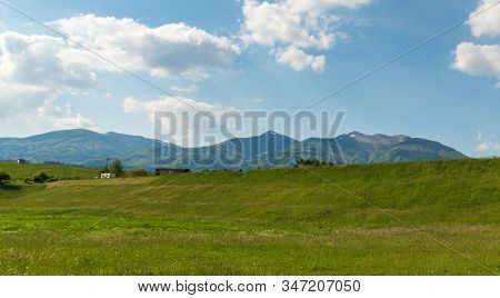 Krivanska Mala Fatra Mountains With Highest Velky Krivan Hill From Meadow Near Krpelany Village In S