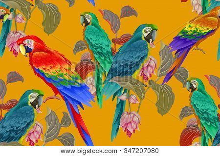 Tropical Seamless Floral Pattern. Exotic Birds Parrots On Branches Of Tree. Nature Illustration. Vin