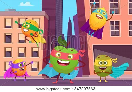 Superheroes In City. Urban Landscape With Fruits Characters In Action Poses Healthy Food Heroes Vect