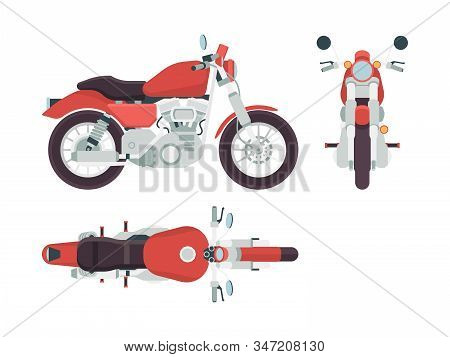 Motorbike Side View. Cycle Transportation Freedom Moto Route Vehicle Styling 1950s Vector Flat Pictu