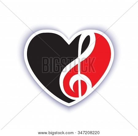 Heart And Treble Clef Love Of Music Emblem