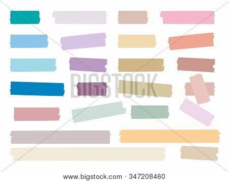 Sticky Strips. Colored Decorative Tape Mini Washi Sticker Decoration Vector Set. Sticky Tape, Ripped