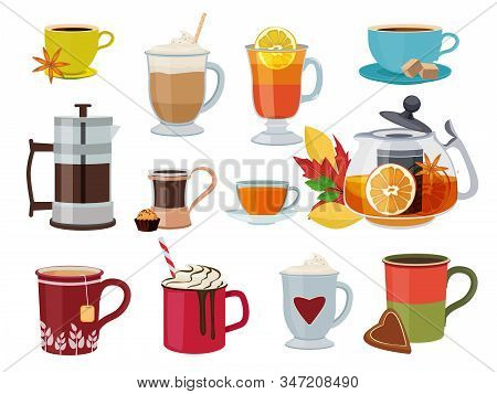 Warm Drinks. Hot Breakfast Liquid Products Tea Coffee With Milk Mulled Wine Vector Pictures Set. Tea