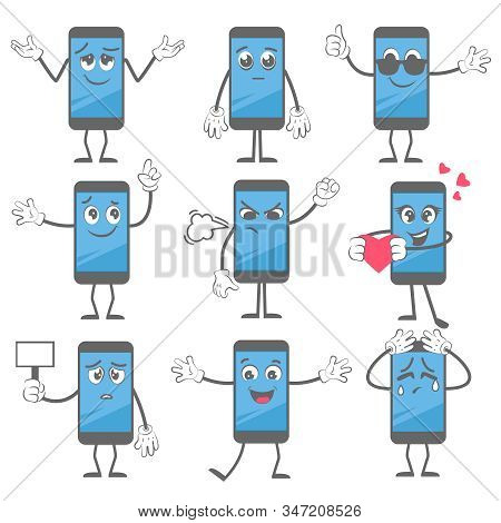 Cartoon Smartphone. Mobile Telephone Mascot Action Poses With Hands And Legs In Boots Tablet Charact