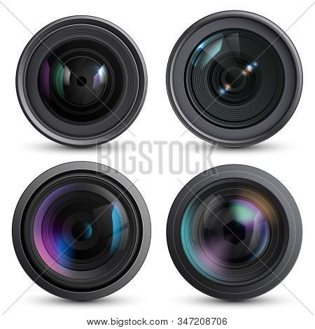 Optical Lens Realistic. Photo Camera Digital Zoom Aim Photo Reflection Detail Macro Equipment Vector