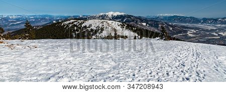 Spectacular Mountain Panorama With Many Hills And Peaks From Mincol Hill In Mala Fatra Mountains In
