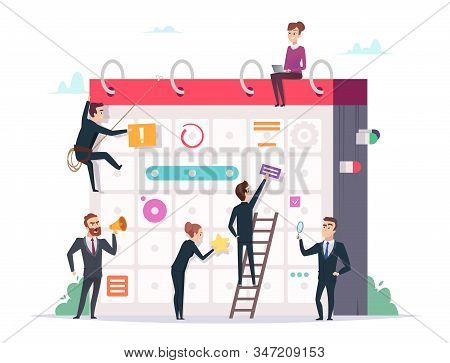 Business Schedule Concept. Characters Managers Making Daily Plans Event Organization Professional Ma