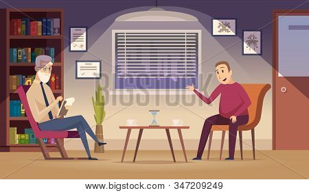 Psychotherapy. Patient On Sofa Professional Psychotherapy Dialogue Session In Clinic Interior Vector