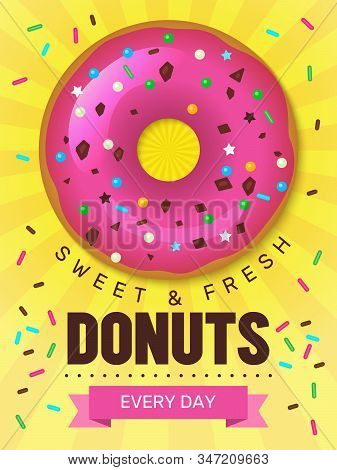 Tasty Food Poster. Donuts Placard Design With Breakfast Colored Food Bakery Products Desserts Vector