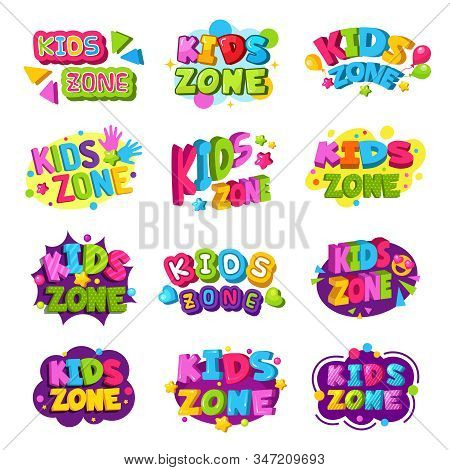 Playroom Logo. Kids Zone Colored Funny Badges Text Graphic Emblem For Game Education Areas Vector Se