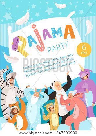 Pyjamas Party. Poster Invitation For Costume Nightwear Clothes Pyjamas Celebration Kids And Parents