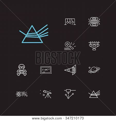 Physics Icons Set. Optical Physics And Physics Icons With Planet With Ring, Classical Mechanics And